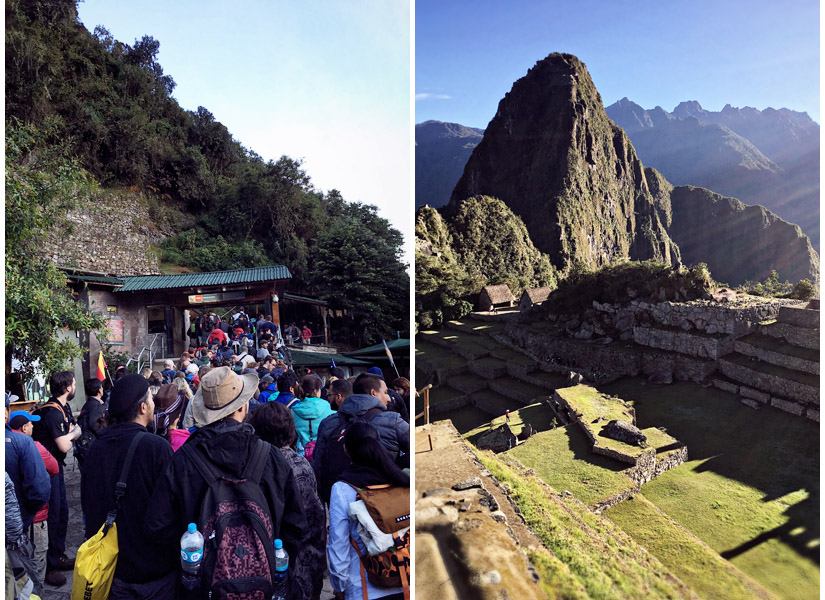 The line to get into Machu Picchu